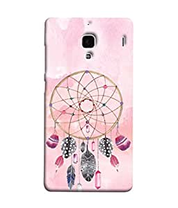 PrintVisa Designer Back Case Cover for Xiaomi Redmi 1S :: Xiaomi Hongmi 1S (golden flower circle with feathers and diamonds)