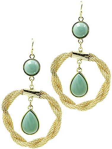 1 paio di orecchini da donna in acciaio beyoutifulthings giallo anello ritorto stretta, rete e pietre in vetro acrilico turchese lunghezza 7 cm