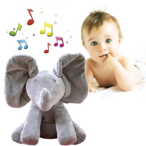 yuailiur Baby animierte Flappy The Elephant Plüsch-Spielzeug Peek-a-Boo Elefant, Versteck-und-Seek Spiel Baby animierte Plüsch-Elefant Puppe grau