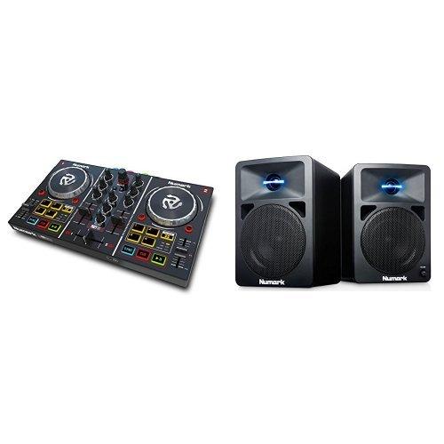 Numark Party Mix DJ Controller mit eingebauter Lichtshow, Audioausgängen und Virtual LE Software + Numark N-Wave 360 Aktiver 2-Wege Desktop Monitor Lautsprecher (für DJ & PC / Mac, 60 Watt) Bundle