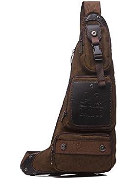 Wewod Crossbody Bag Herren Sport Sling Bag Canvas Chest Bag Retro Umhängetasche Outdoor Schleuder Tasche