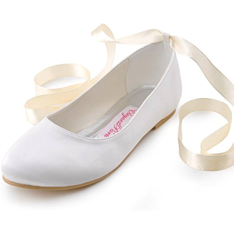 Elegantpark EP11105 Satin avec des des des rubans Bride chevilles bout Rond Satin Plat Ballerines Chaussures de - B00N8BHJ3O - 6844bf