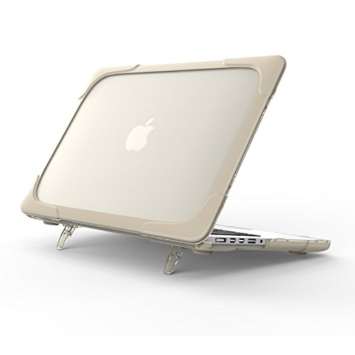 3C-LIFE 2-In-1 Enforced Edge Macbook Case, Rugged Slim Shockproof/Scratchproof Hard Shell Case with Kickstand for Macbook Air 13 A1369 A1466 [Khaki]