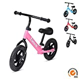 Balance Bike for Kids and Toddlers, Lightweight Carbon Steel Frame Training Bicycle, Pink