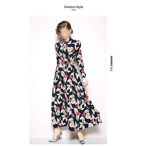 Bademode Schlank dünn langes Kleid Swing-Kleid quadratischen Kragen langärmelige Mitte der Taille gedruckt langes Kleid Bikinis (Farbe : Bildfarbe, Size : L) -