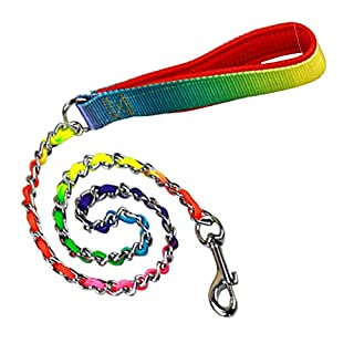 KaLaiXing brand Pet Products Heavy Duty stainless steel Chain link Pet Dog Lead Leash with Colorful PU Handle for Medium and Small Size Dogs Pets-1M*3cm