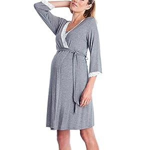 premamás: QinMM Vestido de Lactancia Maternidad de Noche Camisón Mujeres Embarazadas Ropa ...