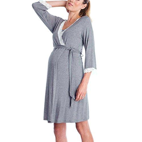 04225a40f QinMM Vestido de Lactancia Maternidad de Noche Camisón Mujeres Embarazadas  Ropa de Dormir Premamá Pijama Verano Encaje (A-Manga Larga