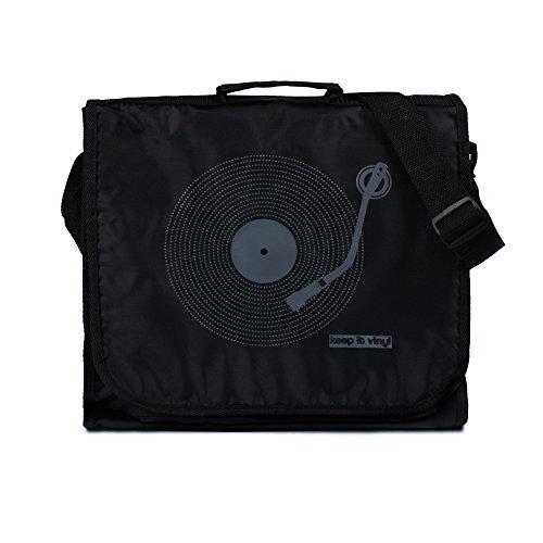 Keep It Vinyl Tasche-Vintage Retro Stil Record DJ LP Vinyl Schallplatten Messenger Schultertasche Gr. One Size, schwarz -