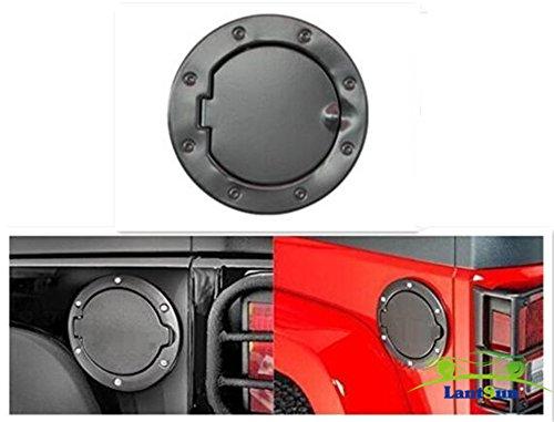 Lantsun Gas Hatch nero della copertura in acciaio inox porta di combustibile non-serratura per 2007-2016 Jeep Wrangler JK SJ013