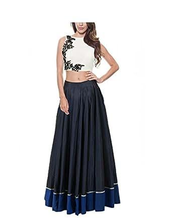 Kenil Fabrics Women's Silk Lehanga Choli (ken-1101153 _white and navy blue_ Free Size)