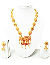 KailasMegha Traditional Gold Plated Temple Bahubali Matti Necklace Set With Earrings For Women & Girls
