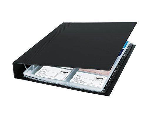 SIGEL VZ301 Visitenkarten-Ringbuch schwarz, für 400 Karten, mit 20 Sichthüllen