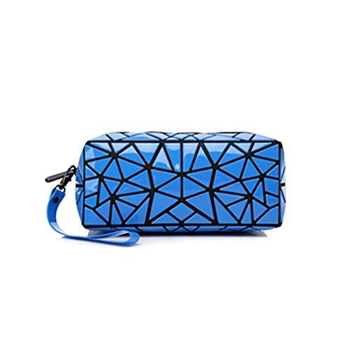 CLOTHES- Sacchetto cosmetico di Geometry Sacchetto di immagazzinaggio portatile Borsa di viaggio Sacchetti di spazzola di rossetto dell'emulsione di acqua ( Colore : Blu ) Blu