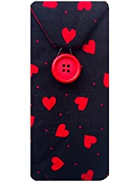 Negro y rojo funda para gafas diseño de corazones de