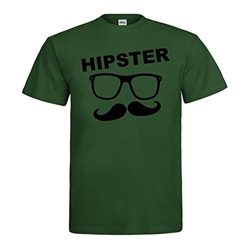MDMA T-Shirt Hipster Brille Bart N14-mdma-t00760-267 Textil bottlegreen / Motiv schwarz Gr. M (267 Brille)