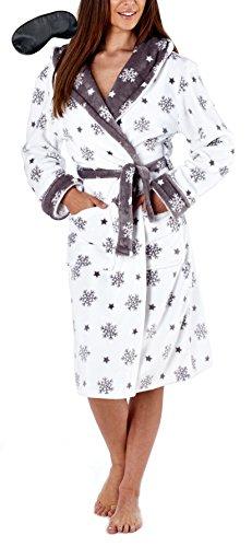 i-Smalls Frauen Fleece Kapuzen Schneeflocke Druck Robe mit -
