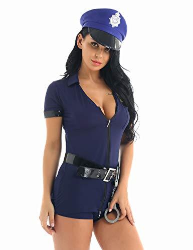 iEFiEL Damen Polizistin Kostüm Outfits Polizist Uniform V-Ausschnitt +Minikleid +Gürtel +Hut +Handschellen Halloween Karneval Cosplay Party Marineblau Medium