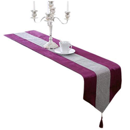 Unbekannt Bright Diamond Tisch Flag Tuch Streifen Einfache Mode Europäischen Stil Esszimmer Kaffee Hotel Hochzeitsbankett Dekoration 4 Farben 33 cm * 180 cm MUMUJIN (Farbe : Purple, größe : 210cm)