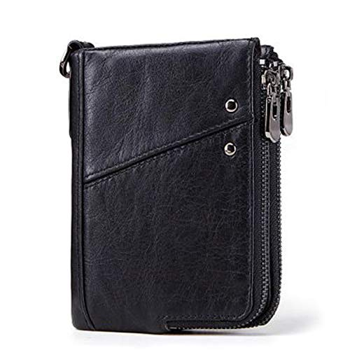 Doppel-brieftasche (Anti-Diebstahl-Bürste RFID Echtleder Herren Brieftasche Multifunktions-Doppel-Reißverschluss vertikale Brieftasche Mode lässig Geldbörse (Black, 10 × 2 × 13cm))