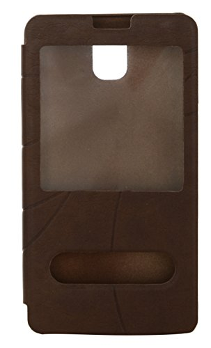 iCandy™ Premium Quality PC+ PU Leather Card Slot Holder Caller ID Flip Cover Case For Samsung Galaxy Note 3 - Brown  available at amazon for Rs.145