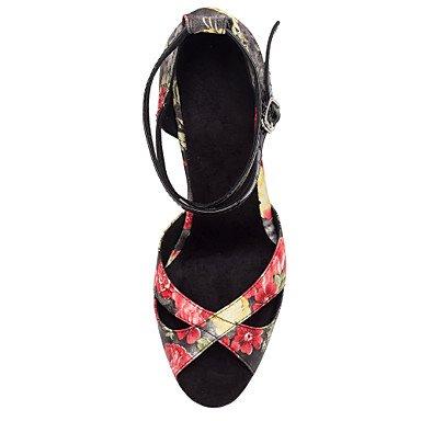 Scarpe da ballo-Personalizzabile-Da donna-Balli latino-americani / Salsa-Tacco su misura-Raso-Altro Black