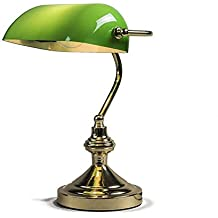 QAZQA Art Deco, Clásico/Antiguo, Retro/Vintage Lámpara de notario verde y oro, Vidrio, Metal, Redonda, Esfera, Alargada / Adecuado para LED E27 Max. 1 x 60 Watt