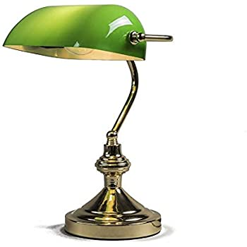 QAZQA Art Déco / Classique/Antique / Rétro / Lampe de notaire Banker doré/vert Verre / Metal / Rond / Globe / Oblongue / Compatible pour LED E27 Max. 1 x 60 Watt / Lampe de lecture / Luminaire / Lumie