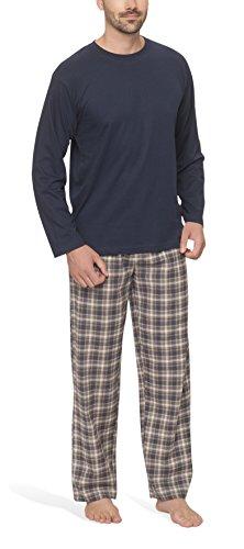 Herren Schlafanzug mit Flanellhose - Moonline, Farbe:navy, Größe:50