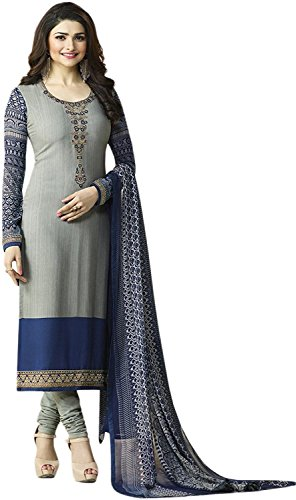 Prachi Desai Grey and Blue embroidered Crepe Salwar Suit