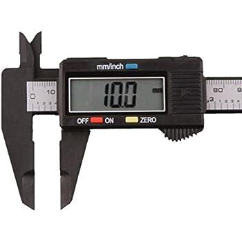 HSJ-05 Black 150mm 6Inch LCD Digital Professional Electronic Ruler Carbon Fiber Vernier Caliper Gauge Micrometer Measuring Tool Device For Inside Outside Depth And Step Measurements