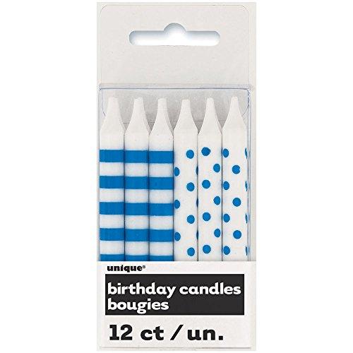 Unique Party Paquete de 12 Velas de cumpleaños a Lunares y Rayas, Color Azul Rey (19244)