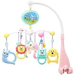 Mobile Musicale Bebe pour lit Parapluie avec projecteur et telecommande Cloche De Bébé Lit Hanging Cloche Mobile Musical Rotation Hochet Intelligence Jouet Educatif