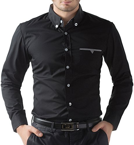 Mens-Long-Sleeve-Shirts-Button-Down-Slim-Fit-Fashion-Solid-9-Colors-CL5249