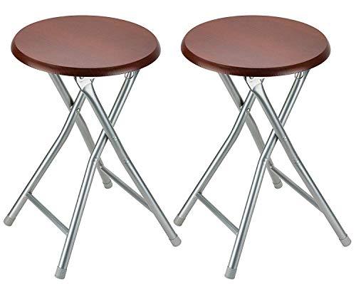 DecorRack Klapphocker aus Holz, 45,7 cm, tragbar, leicht, faltbar, zusammenklappbar, Sitzhocker mit Holzsitzfläche, Kirsche (2 Stück) -