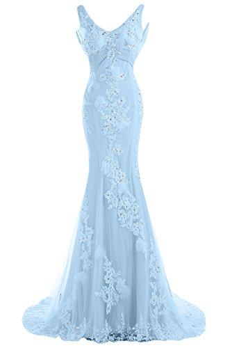 Sunvary Robe Femme Robe de Soiree Longue Sirene Col V Elegante Dentelle Tulle Plisse Traine mi-longue Bleu ciel
