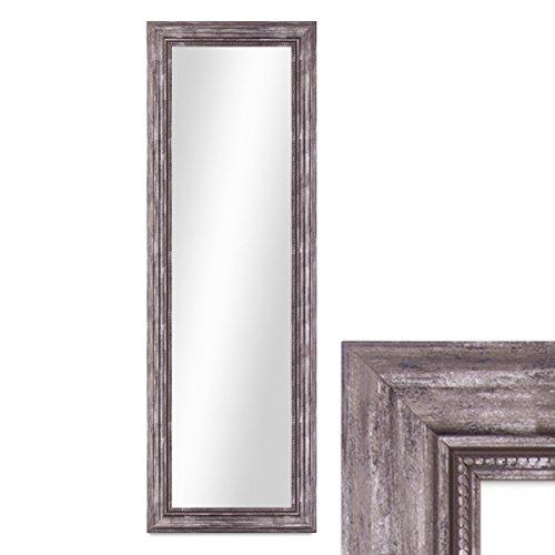 Photolini Wand-Spiegel 40x100 cm im Massivholz-Rahmen Barock-Stil Antik Silber/Spiegelfläche 30x90 cm