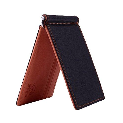 Men Slim Faux Leather Front Pocket Minimalist Wallet Bi-fold Cash Money Clip