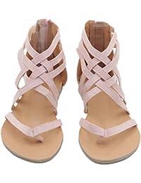 Highdas Mujer Verano Sandalias Clip Toe Zapatos Espina de Pescado Sandalias Elegante Boho Strappy Sandalias Plano Pumps Fiesta Bech Pumps Zapatos