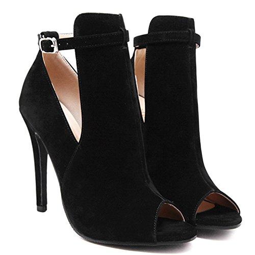 Oasap Women's Peep Toe Cut out High Heels Ankle Buckle Boots Black