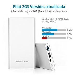 Poweradd Pilot 2GS Versión Mejorada 10000mAh (2.4A+1A)Cargador Móvil Portátil Batería Externa Power Bank para iPhone7 iPad (Adaptadores de Apple no incluidos), Dispositivos de Samsung, otros más de Android y Más - Argentado