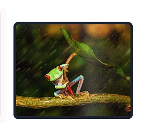 Mouse Pad Unique Custom Printed Mousepad Animal Red Eyed Tree Frogs Leaf Rain Amphibian Edge Non-Slip Rubber 11.8x9.85-Inch -