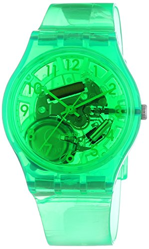 Swatch  Islands Galore Limade – Reloj de cuarzo unisex, con correa de plástico, color verde