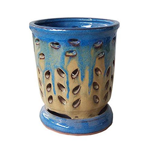 Better-way Hollow Out Fleur carré en céramique à nourriture Plante à fleurs Papillon Orchidée Pot Rebord de fenêtre contemporain Décoration de la Maison, Céramique, Beige And Blue, 6.3 Inch