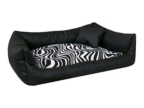 Bild: REX Hundebett Schlafplatz Kunstleder L 80x100 Farbe schwarz  zebra Hundesofa  Kissen