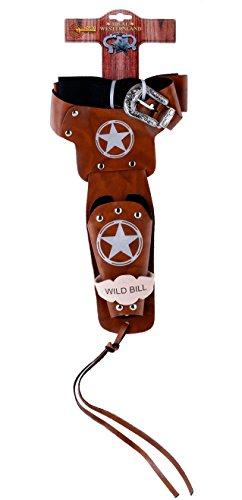 Schrödel J.G. Gürtel Wild Bill: Pistolengürtel für Spielzeugpistole, mit 1, Ideales Zubehör für Cowboy-Kostüme, 90-130 cm, braun/Silber (730 0142)