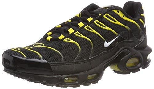 Nike air max plus, scarpe da ginnastica basse uomo, nero (black/white-vivid sulfur 020), 40.5 eu