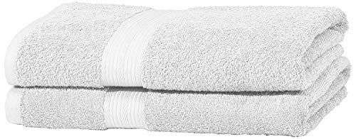 AmazonBasics Set di 2 asciugamani da bagno che non sbiadiscono colore Bianco Candido