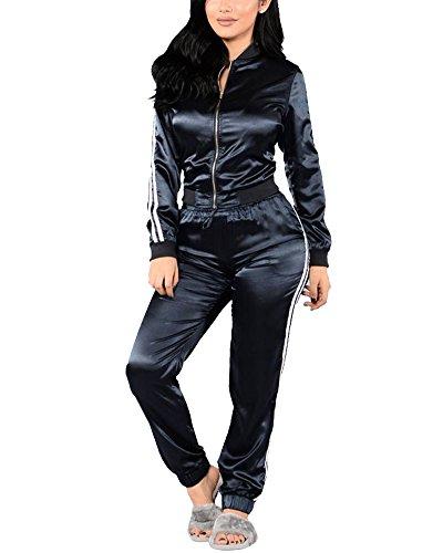 Pullover Anzug Mit (Damen Jogginganzug Reißverschluss Langarm Sportanzug Trainingsanzug Sweatshirt Anzug mit Hose Saphirblau)