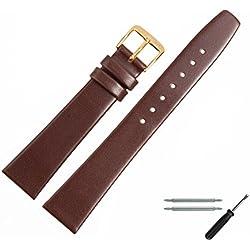 Uhrenarmband 16mm Leder braun glatt - Lederband inkl. Federstege & Werkzeug - Ersatzarmband passend zu klassischen & modernen Uhren - Marburger Uhrenarmbänder seit 1945 - dunkelbraun / gold